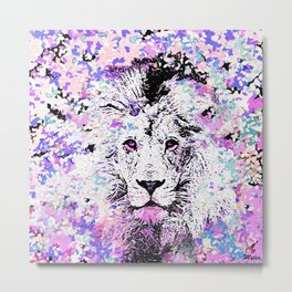 LION PINK and WHITE Metal Print