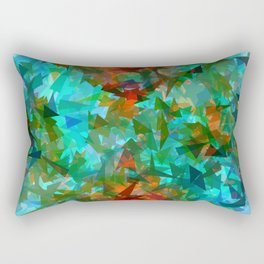 psychedelic geometric triangle fractal abstract pattern in blue green orange Rectangular Pillow