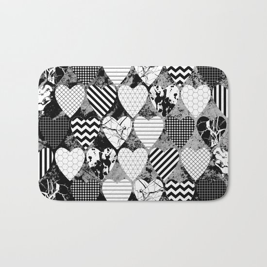Textured Black And White Hearts - Abstract, geometric pattern Bath Mat