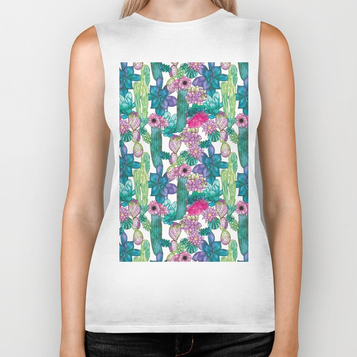 Cactus and succulents pattern Biker Tank