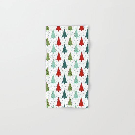 Christmas Tree holiday dots snow polka dot minimal modern geometric christmas decor design Hand & Bath Towel