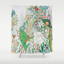 Painterly Floral Jungle on Pink and White Shower Curtain