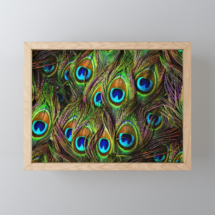 Peacock Feathers Invasion - Wave Framed Mini Art Print