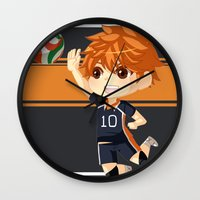 haikyuu Wall Clocks featuring Haikyuu!! by Nozubozu