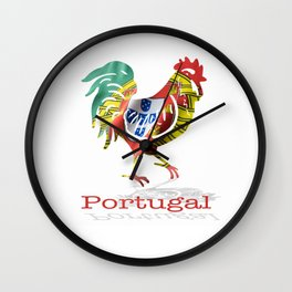 Portuguese waving flag shaped as a rooster on a white background.  Wall Clock