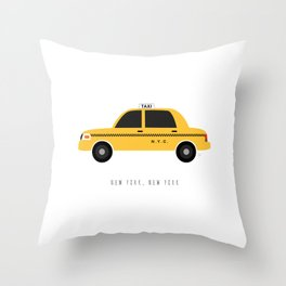 New York City, NYC Yellow Taxi Cab Throw Pillow