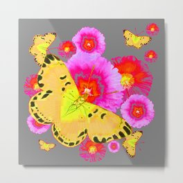 YELLOW BUTTERFLIES PINK MODERN FLOWERS Metal Print