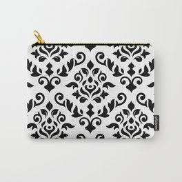 Damask Baroque Pattern Black on White Carry-All Pouch