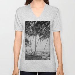 Miami Florida Palm Trees Black and White Vintage Photograph, 1915 Unisex V-Neck