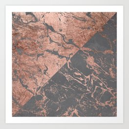 Modern rose gold marble inverted color block grey cement concrete Art Print