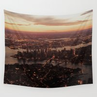 nyc Wall Tapestries featuring NYC  by parrotsafety