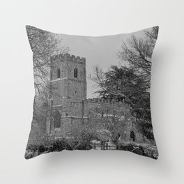 St Botolph's Church, Rugby Black and White Throw Pillow