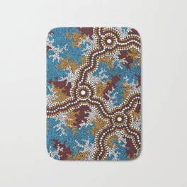 Authentic Aboriginal Art - Wetland Dreaming Bath Mat