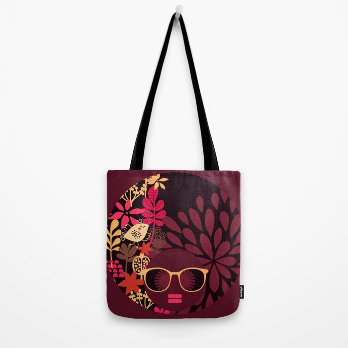 Afro Diva : Sophisticated Lady Deep Pink & Burgundy Tote Bag