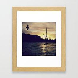 Sunset on the Seine Framed Art Print