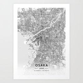 Osaka, Japan - Light Map Art Print