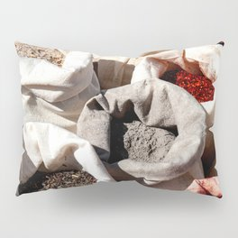 Exotic Indian Spices In Small Canvas Sacks Pillow Sham