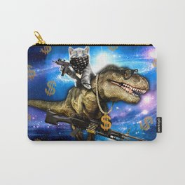 Cat Kitty Travel through Galaxy on Dinosaur T-rex with Guns and Golden chains Swag money dollars Carry-All Pouch