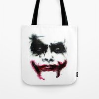 the joker Tote Bags featuring Joker by Lyre Aloise