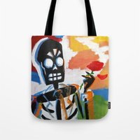grim fandango Tote Bags featuring Your Travel Agent - Grim Fandango by wildstar25