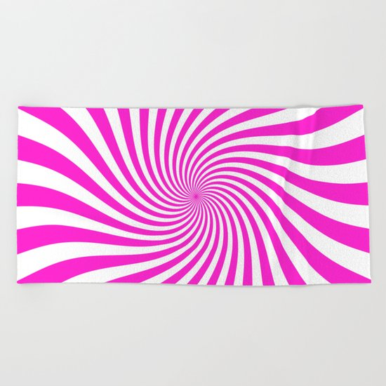 Swirl (Hot Magenta/White) Beach Towel