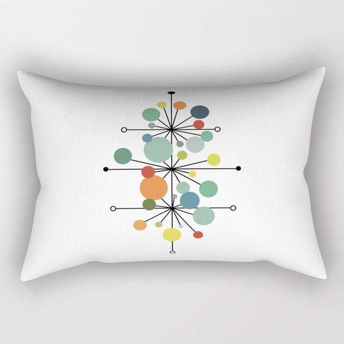 Atomic Age Nuclear Abstract Motif — Mid Century Modern Pattern Rectangular Pillow
