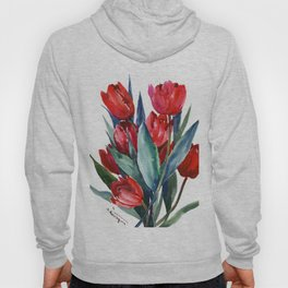 Red Tulips Floral Red Turquoise Blue Artwork Hoody
