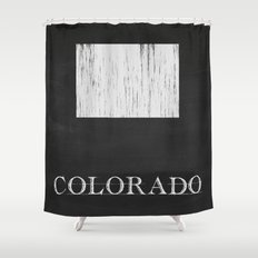 Colorado State Map Chalk Drawing Shower Curtain