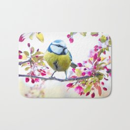 Romantic Flower Blossom with blue tit spring bird Bath Mat