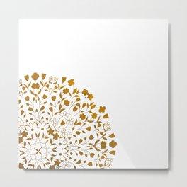 Golden Floral Pattern Metal Print