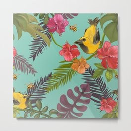 Brazilian colorful birds and bees on a tropical background vintage illustration design for fine home ornamentation. Metal Print