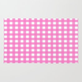 Farmhouse Gingham in Bright Pink Rug