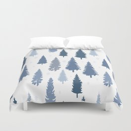 Pines and snowflakes pattern Duvet Cover