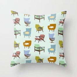 Cats Sleeping on Mid Century Modern Chairs Throw Pillow