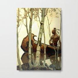 """N C Wyeth Vintage Western Painting """"Birchbark Canoe"""" Metal Print"""