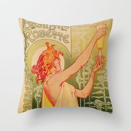 Classic French art nouveau Absinthe Robette Throw Pillow