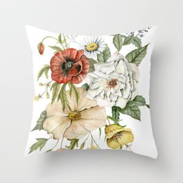Wildflower Bouquet on White Throw Pillow
