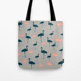 Tropical Gathering Flamingo Design Tote Bag