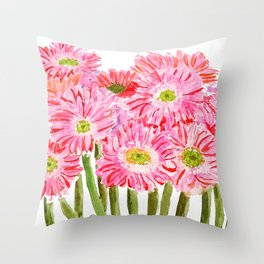 Pink Gerbera Daisy watercolor Throw Pillow