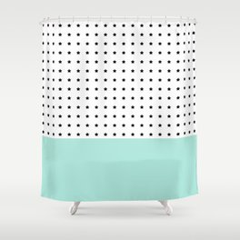 Stars and Mint Shower Curtain