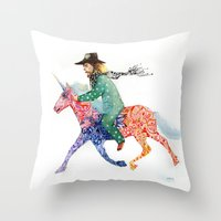 cowboy Throw Pillows featuring Cowboy by Ksenia Sapunkova