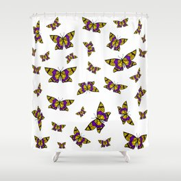 Fly With Pride: Intersex Flag Butterfly Shower Curtain