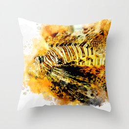Lionfish in watercolor Throw Pillow