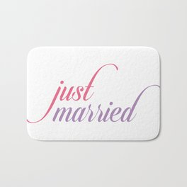 Just married calligraphy typography Bath Mat