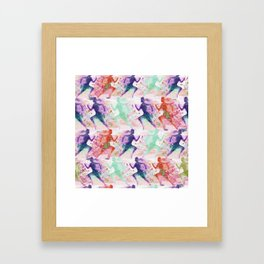 Watercolor women runner pattern with red mint and dark purple Framed Art Print