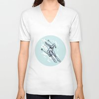 skiing V-neck T-shirts featuring Skiing Slalom Circle Etching by patrimonio