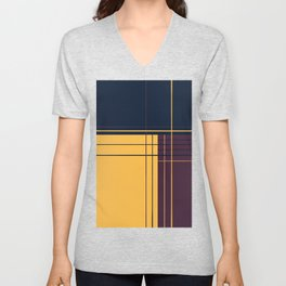 Abstract graphic I Dark blue Purple Yellow Unisex V-Neck
