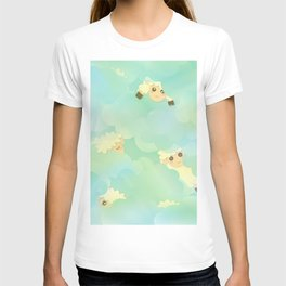 Heavenly Baby Sheep I - Mint Green, Baby Blue Colors Sky Background T-shirt