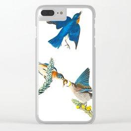 Blue Bird Vintage Illustration Clear iPhone Case