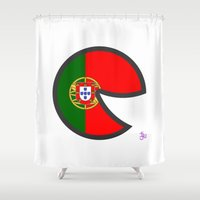 portugal Shower Curtains featuring Portugal Smile by onejyoo